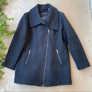 Kenneth Cole Black Asymmetrical Zip Pea Coat